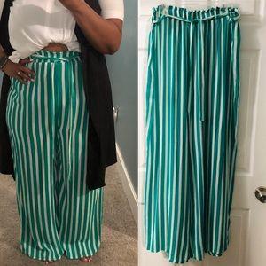 Striped long palazzo pants